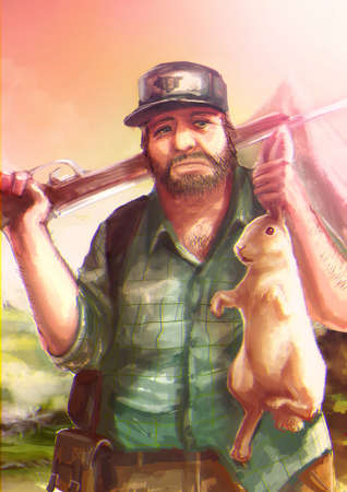 pheasant: Cartoon illustration of a Caucasian hunter hunts a white rabbit and grabbing its ear in the wild scene