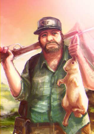 cazador: Ilustración de dibujos animados de un cazador de caza de raza caucásica un conejo blanco y el acaparamiento es oído en la escena salvaje Foto de archivo