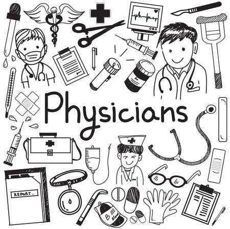 strut: Physician doctor and other medic professions doodle cartoon icons of people medicines tools sign and symbol in white isolated paper background for health presentation or subject title, create by vector