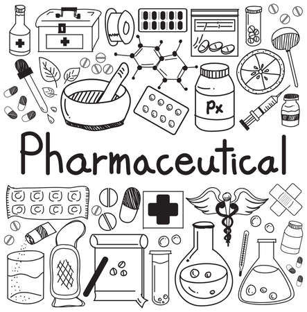 pharmaceutical industry: pharmaceutical and pharmacist doodle handwriting icons of medicines tools sign and symbol in white isolated paper background for health presentation or subject title, create by vector