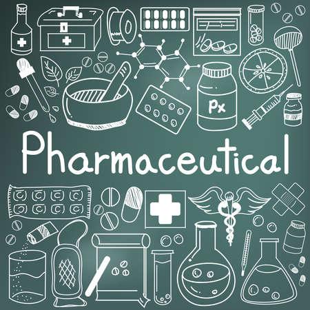 farmaceutische en apotheker doodle handschrift iconen van geneesmiddelen gereedschappen teken en symbool in bordachtergrond voor de gezondheid van de presentatie of het onderwerp titel, creëren door vector