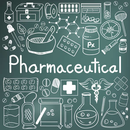 pharmaceutical and pharmacist doodle handwriting icons of medicines tools sign and symbol in blackboard background for health presentation or subject title, create by vector