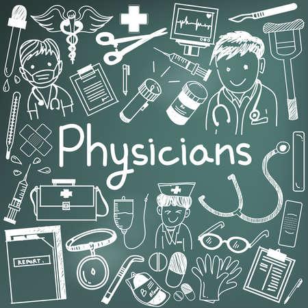 Arzt-Arzt und andere Mediziner Berufe doodle Cartoon Symbole von Menschen Medikamente Werkzeuge Zeichen und Symbol in Tafel Hintergrund für die Gesundheit Präsentation oder Betreff-Titel, durch den Vektor erstellen Vektorgrafik