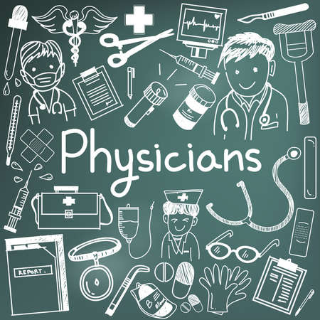 physician: Physician doctor and other medic professions doodle cartoon icons of people medicines tools sign and symbol in blackboard background for health presentation or subject title, create by vector