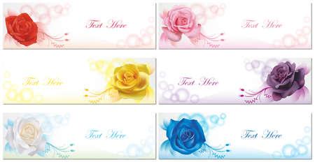 6 Kleur rozen banner achtergrond collectie set in transparante achtergrond, creëren door vector Stock Illustratie