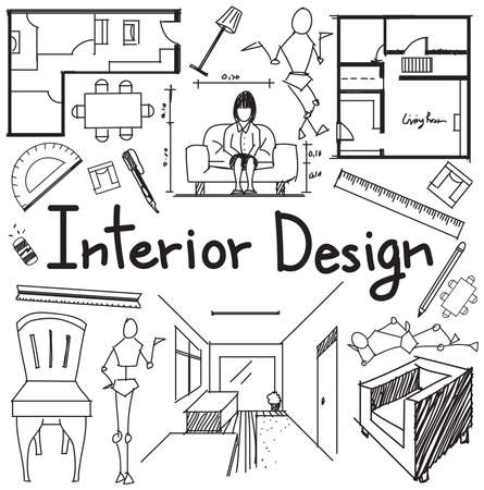Interior design and building blueprint profession and education interior design and building blueprint profession and education handwriting doodle tool sign and symbol in white malvernweather Choice Image