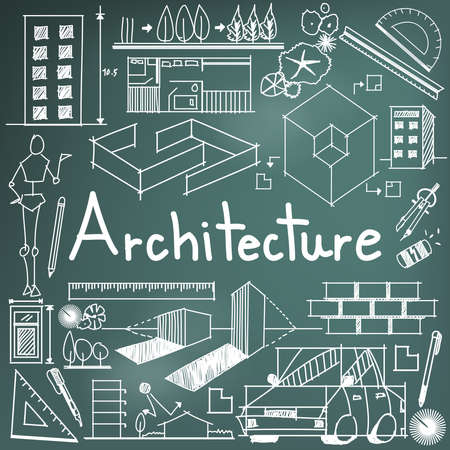 architecture: Architecture and architect design profession and building exterior blueprint handwriting doodle tool sign and symbol in blackboard background for education subject or presentation title, create by vector