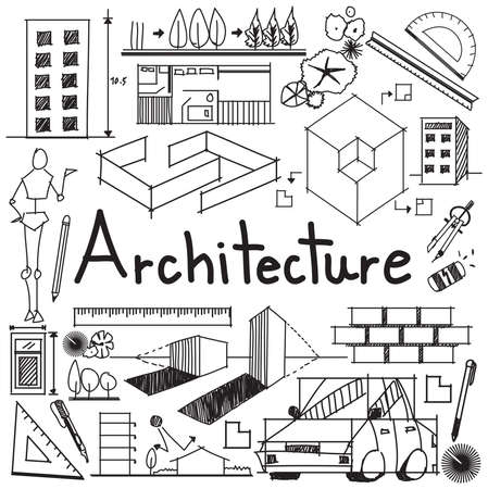 design interior: Architecture and architect design profession and building exterior blueprint handwriting doodle tool sign and symbol in white isolated background paper for education subject or presentation title, create by vector
