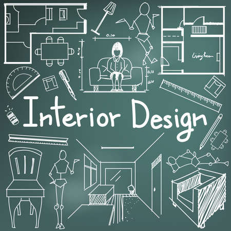 Job Title Interior Design And Building Blueprint Profession Education Handwriting Doodle Tool Sign