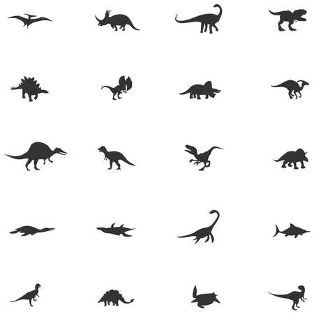 Silhouette dinosaur and prehistoric reptile animal icon collection set, create by vector