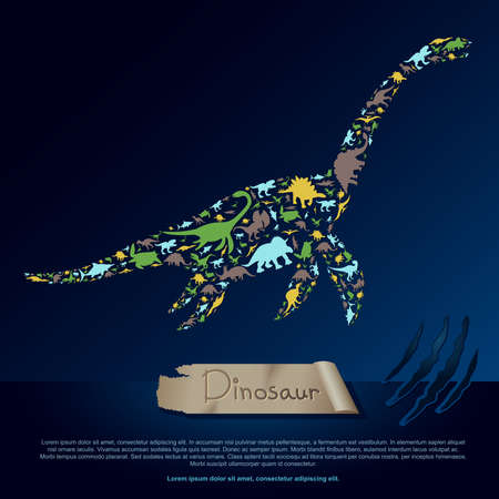 roaring sea: Flat dinosaur and prehistoric reptile animal infographic banner background template layout in plesiosaurus icon shape for education or advertisement, create by vector