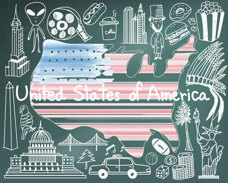 empire state building: Travel to United state of America doodle drawing icon with culture, costume, landmark and cuisine tourism concept in blackboard background, create by vector Illustration