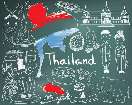 Travel to Thailand (Siam) doodle drawing icon with culture, costume, landmark and cuisine tourism concept in blackboard background, create by vector