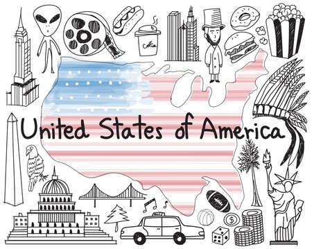Travel to United state of America doodle drawing icon with culture, costume, landmark and cuisine tourism concept in isolated background, create by vector