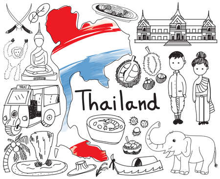 Travel to Thailand (Siam) doodle drawing icon with culture, costume, landmark and cuisine tourism concept in isolated background, create by vector