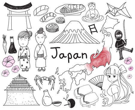 sake maki: Travel to Japan doodle drawing icon with culture, costume, landmark and cuisine tourism concept in isolated background, create by vector