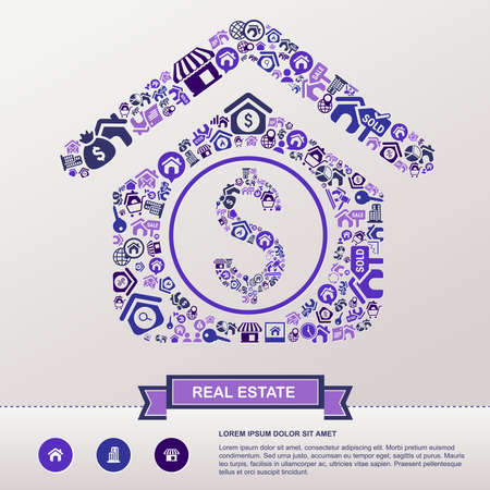 seize: Real estate business industry and investment infographic background template layout in house icon shape used for advertisement and marketing, create by vector