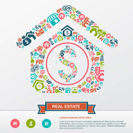 to seize: Real estate business industry and investment infographic background template layout in house icon shape used for advertisement and marketing, create by vector