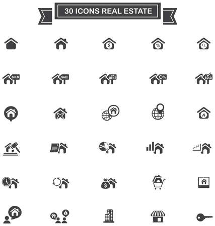 seize: 30 Real estate business industry and investment sign and symbol icon set , create by vector