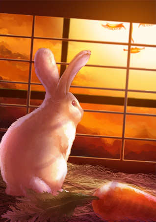 rabbit standing: Cartoon illustration of cute white rabbit standing alone in the cage looking through the window in sunset scene wuth no freedom