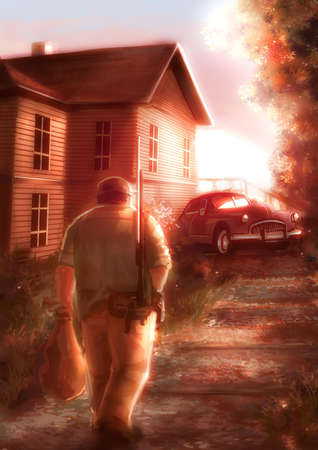 back home: Cartoon illustration of a male hunter walking back home in sunset scene background