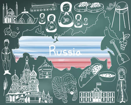 russian food: Travel to Russia doodle drawing icon with culture, costume, landmark and cuisine tourism concept in blackboard background, create by vector
