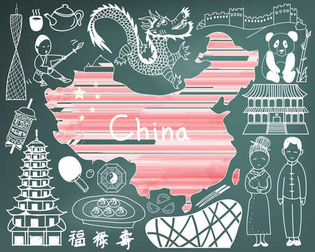 chinese tea pot: Travel to China doodle drawing icon with culture, costume, landmark and cuisine tourism concept in blackboard background, create by vector