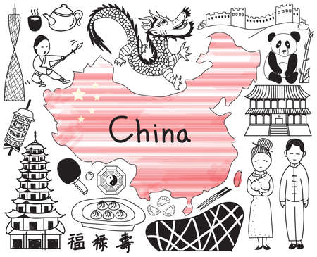 Travel to China doodle drawing icon with culture, costume, landmark and cuisine tourism concept in isolated background, create by vector