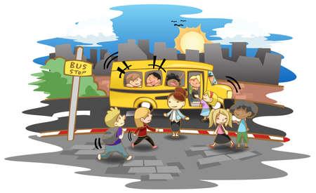 Cartoon dzieckiem i przedszkola lub elementarne uczniowie idący do autobusu na przystanku autobusowym iść do szkoły, tworzenie przez wektor