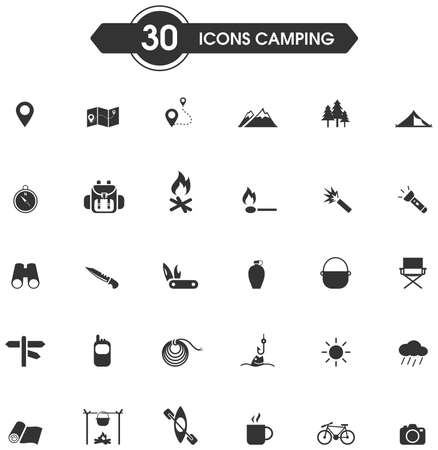 leisure activity: 30 camping and outdoor nature leisure activity silhouette sign and symbol icon set, create by vector