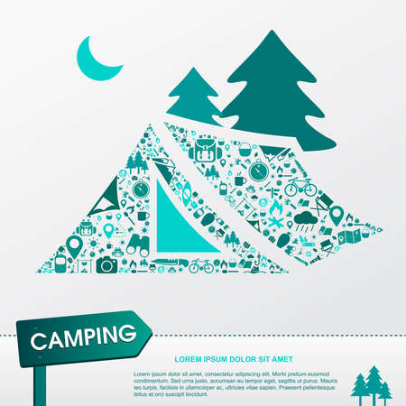 pocket knife: Camping and outdoor nature leisure activity s infographic background template layout in tent icon shape used for advertisement, create by vector