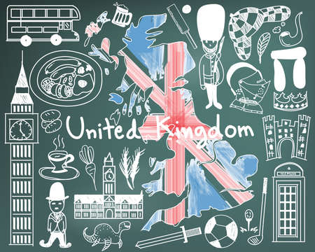 premier league: Travel to United kingdom England and Scotland doodle drawing icon with culture, costume, landmark and cuisine tourism concept in blackboard background, create by vector