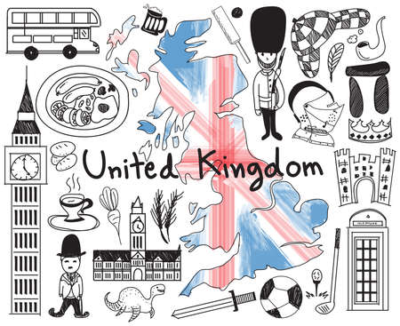 Travel to United kingdom England and Scotland doodle drawing icon with culture, costume, landmark and cuisine tourism concept in isolated background, create by vector