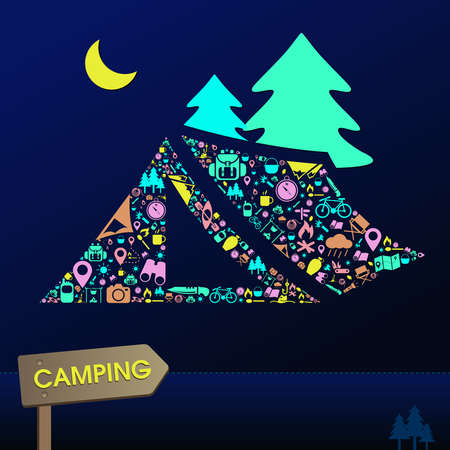 leisure activity: Camping and outdoor nature leisure activity s infographic background template layout in tent icon shape used for advertisement, create by vector