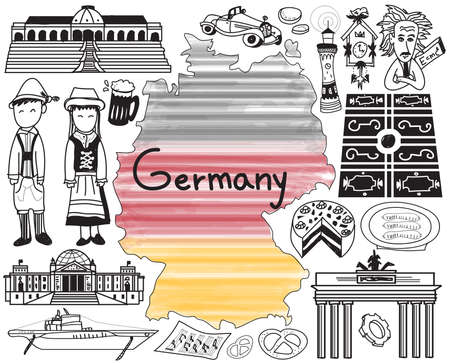 Travel to Germany doodle drawing icon with culture, costume, landmark and cuisine tourism concept in isolated background, create by vector