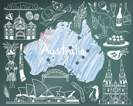 Travel to Australia doodle drawing icon with people, culture, costume, landmark and cuisine tourism concept in blackboard background, create by vector Illustration