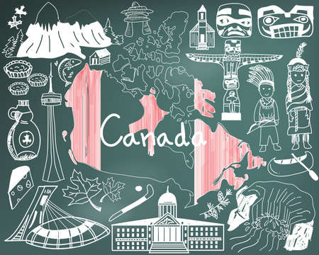Travel to Canada doodle drawing icon with culture, costume, landmark and cuisine tourism concept in blackboard background, create by vector Illustration