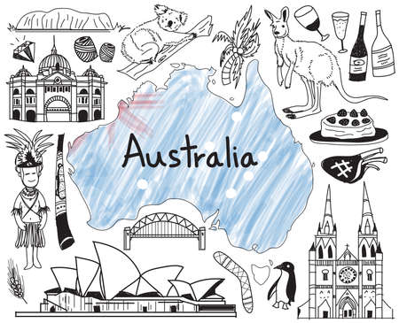 australia animal: Travel to Australia doodle drawing icon with people, culture, costume, landmark and cuisine tourism concept in isolated background, create by vector
