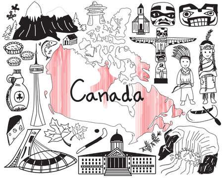 Die Reise nach Kanada kritzeleien Symbol mit Kultur, Kostüm, Sehenswürdigkeiten und Küche Tourismus-Konzept im Hintergrund isoliert, durch den Vektor erstellen