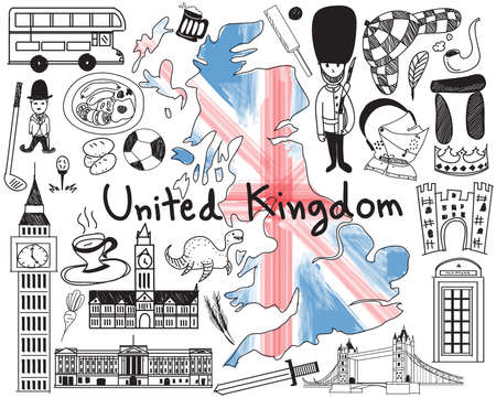 ness: Update version - Travel to United kingdom England and Scotland doodle drawing icon with culture, costume, landmark and cuisine tourism concept in isolated background, create by vector