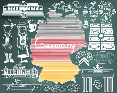 evangelical: Travel to Germany doodle drawing icon with culture, costume, landmark and cuisine tourism concept in blackboard background, create by vector