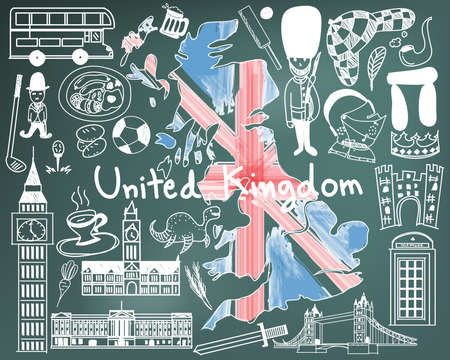 Update version - Travel to United kingdom England and Scotland doodle drawing icon with culture, costume, landmark and cuisine tourism concept in blackboard background, create by vector