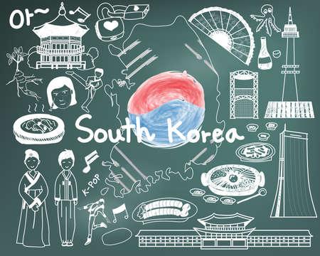 """Voyage à sud-coréen doodle icône de dessin avec la culture, costume, point de repère et le concept de cuisine du tourisme en arrière-plan, tableau noir. Le texte coréen dans l'image signifie """"Ohh"""" ou """"Ahh""""."""