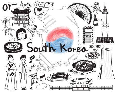 Travel to South Korean doodle drawing icon with culture, costume, landmark and cuisine tourism concept in isolated background, create by vector
