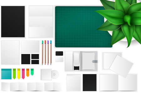 office objects: Office and working space mockup icon with many objects and stationary tools, create by vector