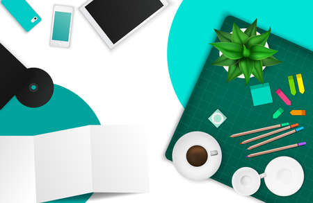office product: Office and working space product mockup template layout background with many objects and tools, create by vector