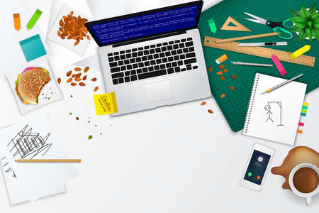 office product: Messy office and working space product mockup template layout background with many objects and tools with quitting and stress concept, create by vector