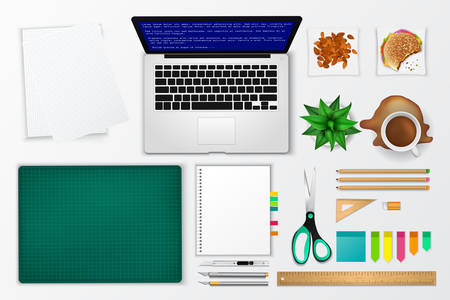 messy office: Messy office and working space product mockup icon with many objects in isolated background, create by vector Illustration