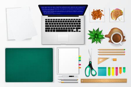 oficina desordenada: oficina desordenada y trabajando espacio icono maqueta producto con muchos objetos en el fondo aislado, crear por el vector