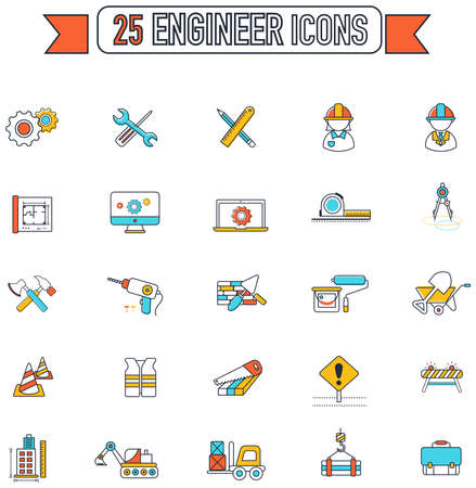 engineering tool: Flat line color civil engineering and construction site industry graphic tool equipment sign and symbol icon collection set, create by vector